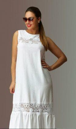 платье с пышной юбкой из льна