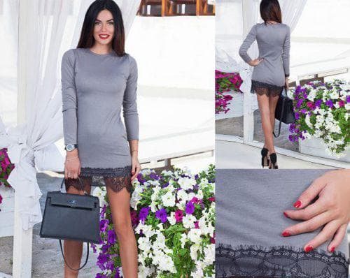 трикотажное платье с рукавом с кружевом по низу