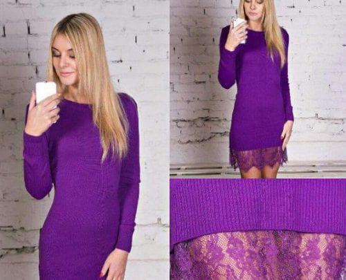трикотажное платье с кружевом по низу фиолетового цвета