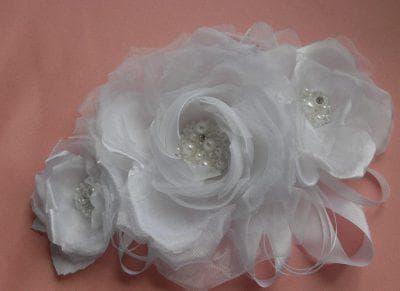 цветы из органзы для украшения платья