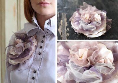 цветы из шелка для украшения платья